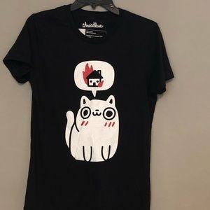 Cat Graphic Black T-shirt Threadless Large New